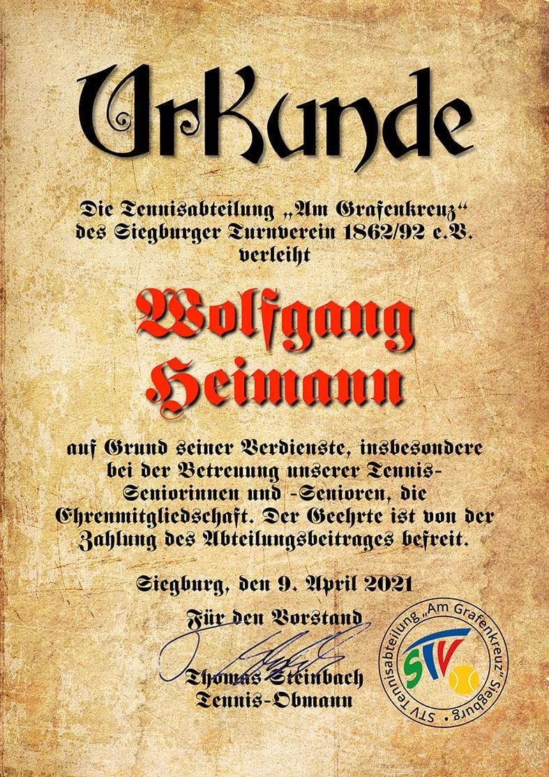 Ehrenurkunde Wolfgang Heimann