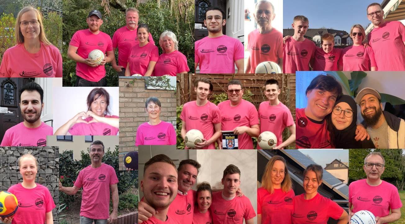 STV Faustballaktive in Pink gegen Rassismus